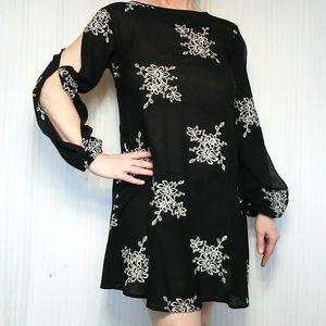 Black Double Split Sleeved Dress